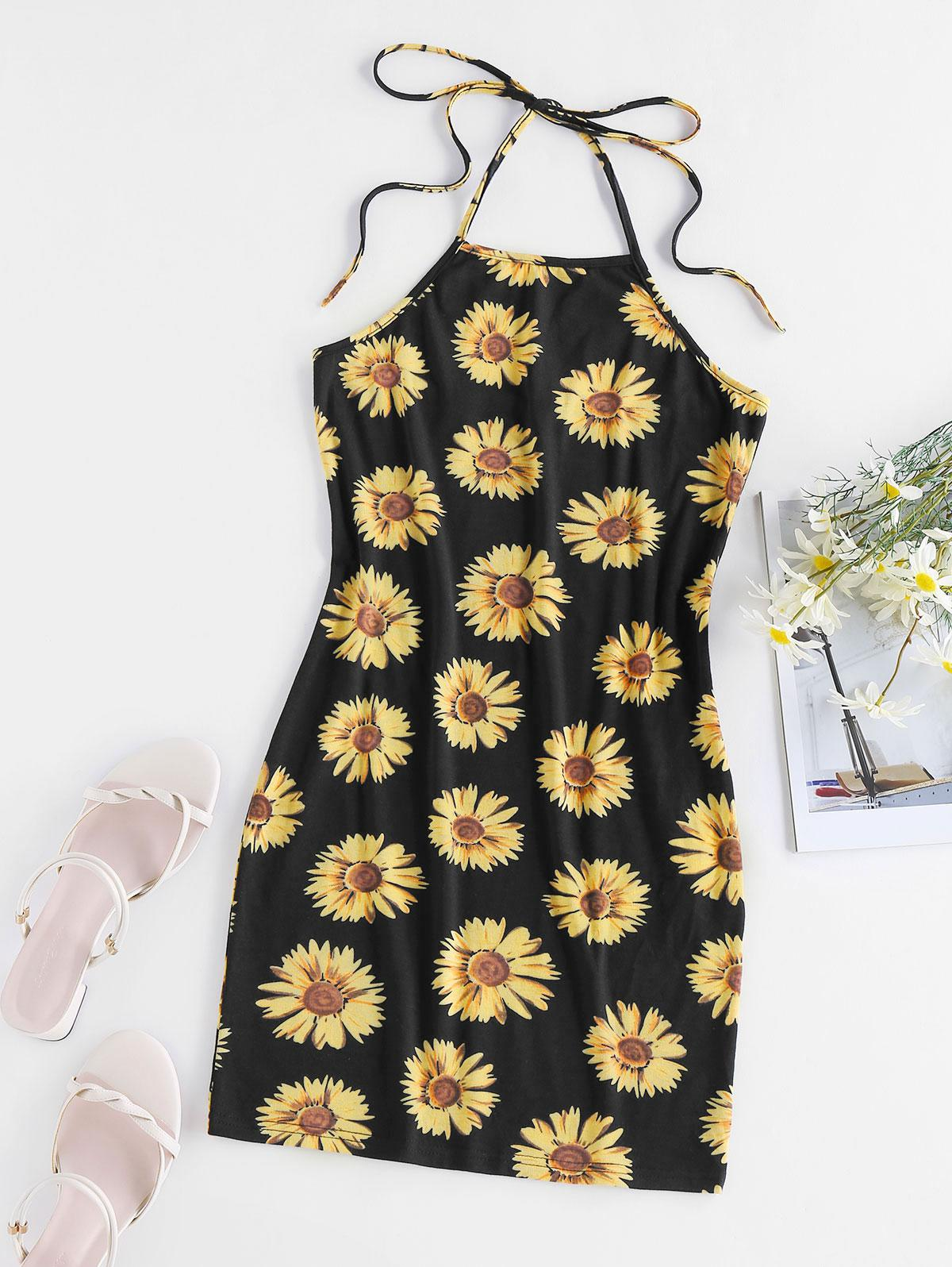 ZAFUL Flower Print Halter Backless Bodycon Dress