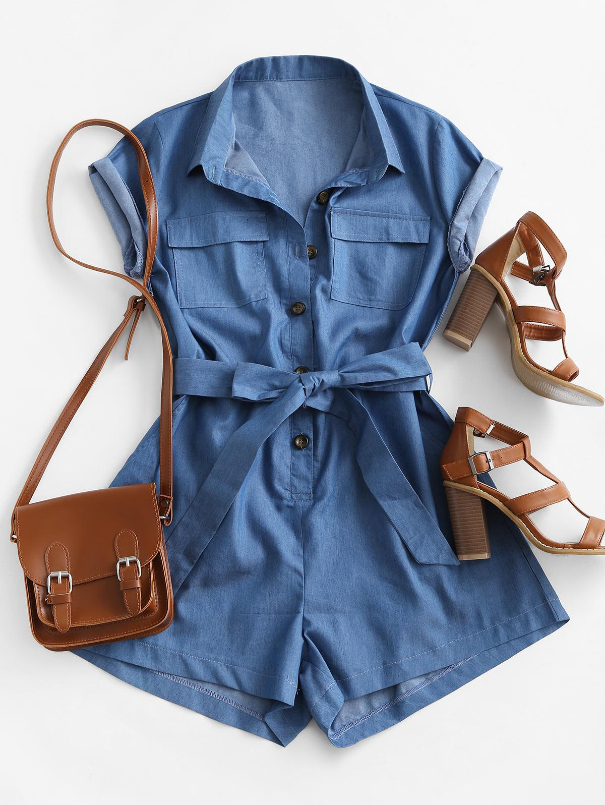 Belted Pockets Chambray Cargo Romper
