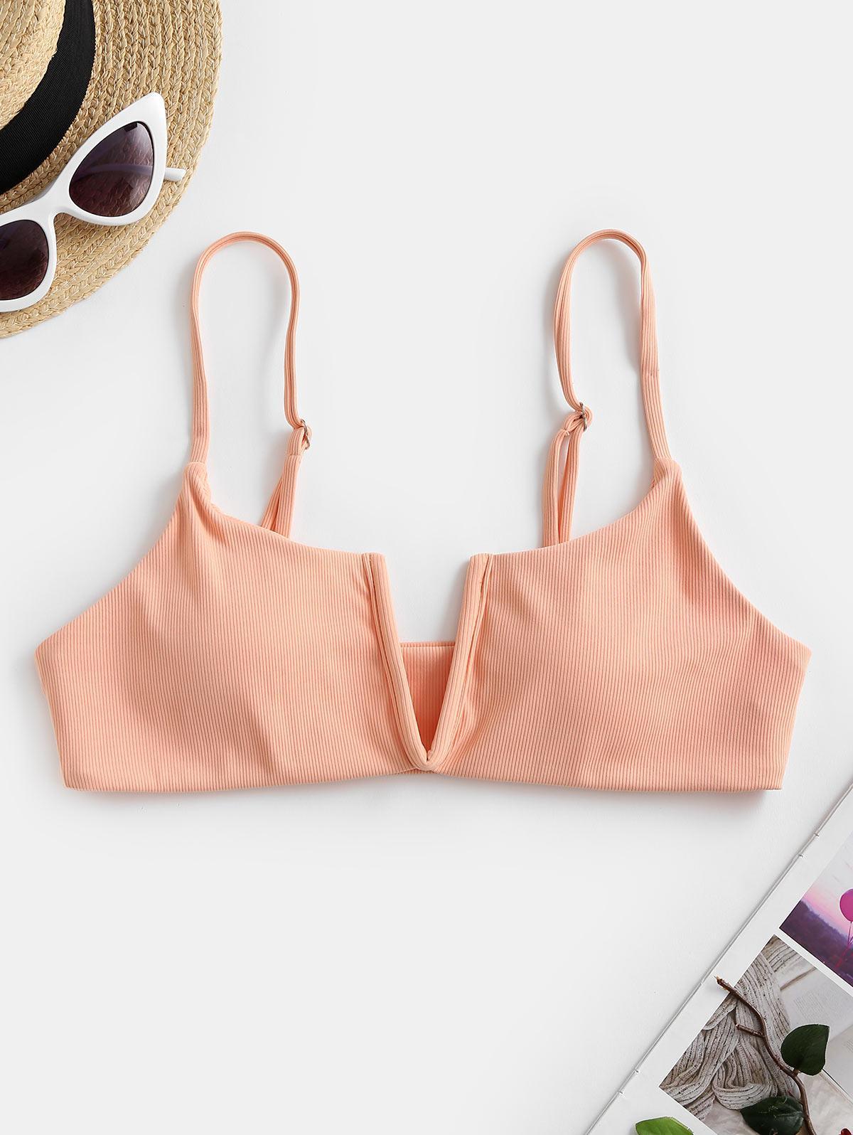 ZAFUL Ribbed V-wired Bikini Top