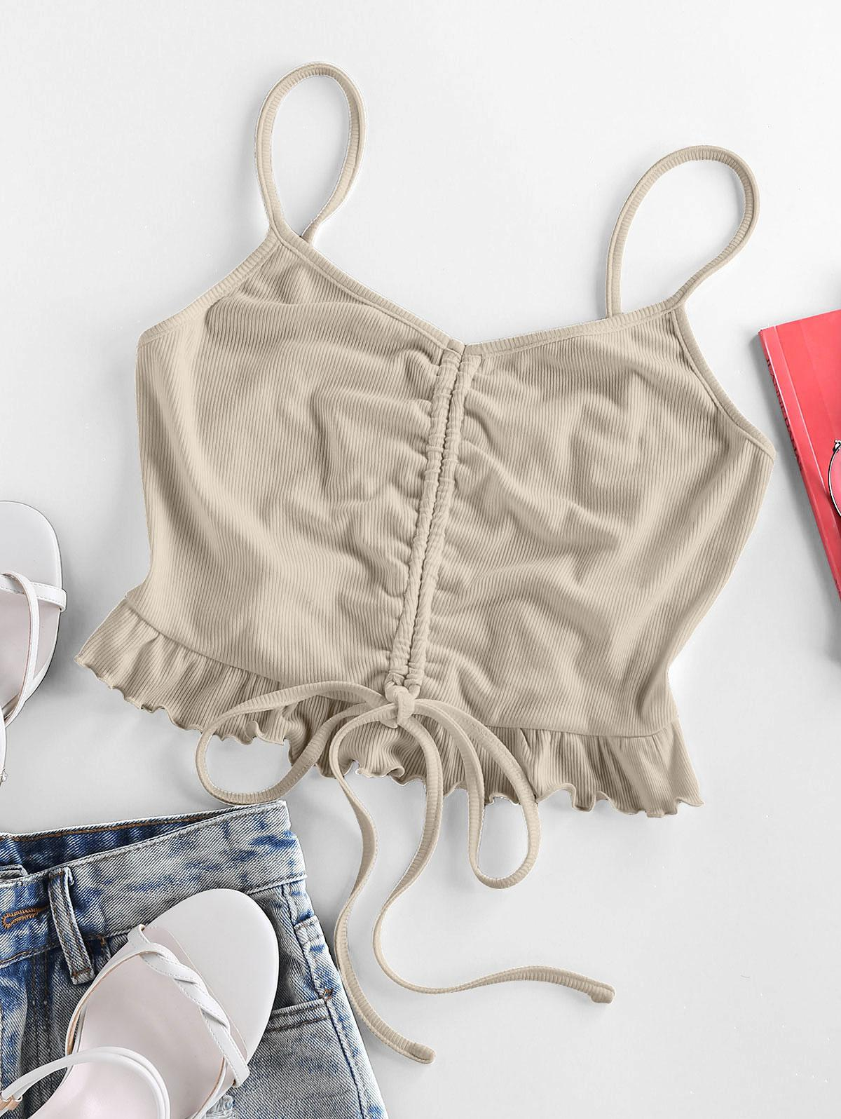 ZAFUL Cinched Flounce Cropped Cami Top