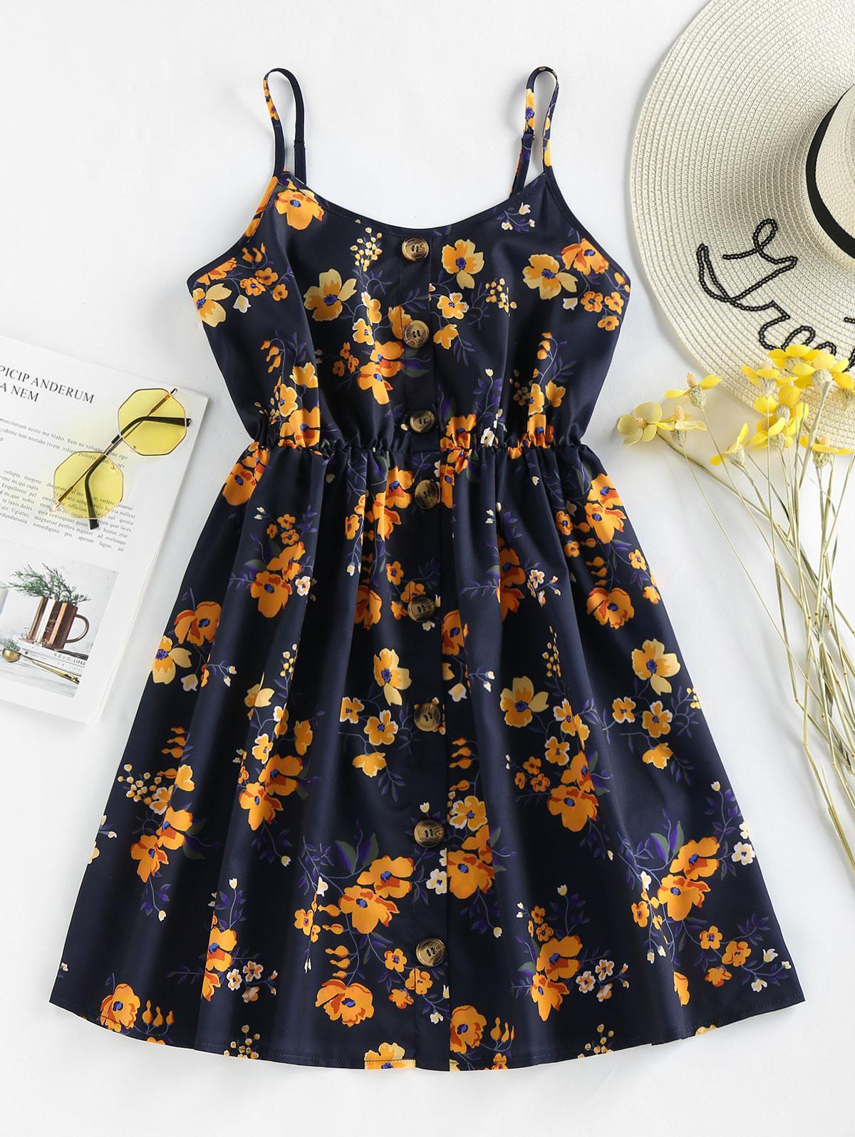 ZAFUL Floral Print Smocked Mini Dress