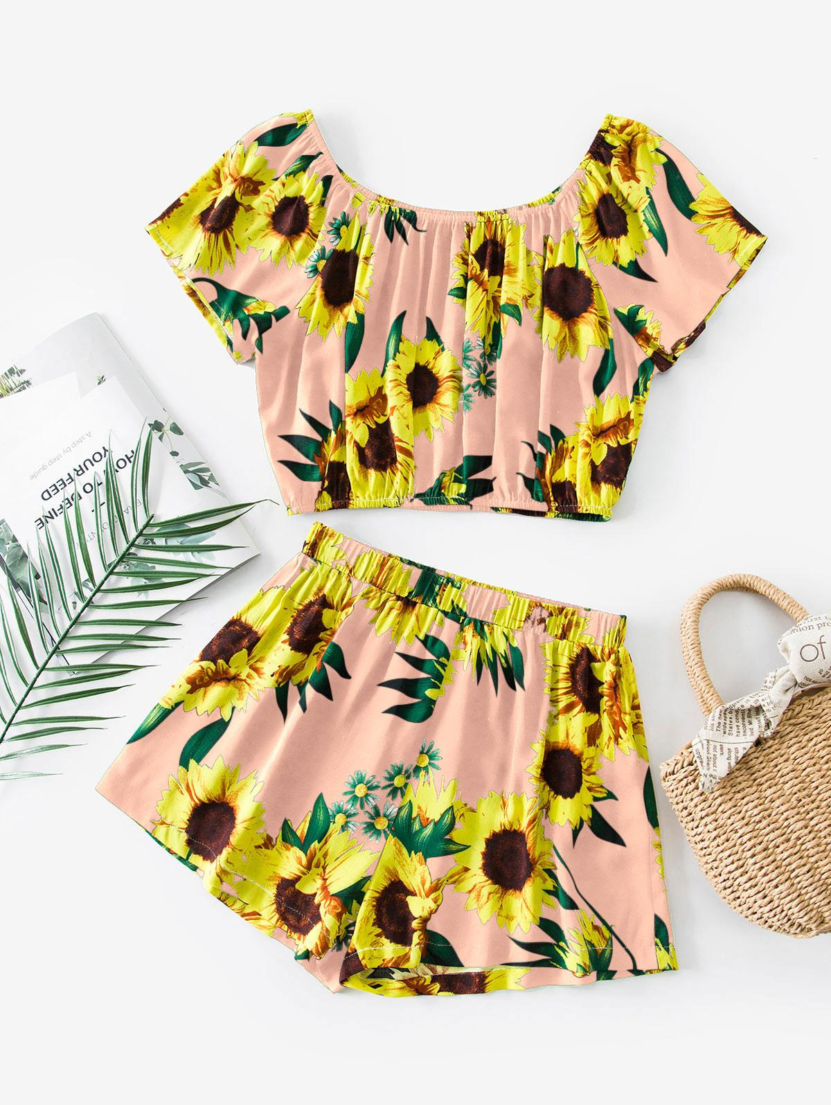 ZAFUL Sunflower Print Co Ord Set