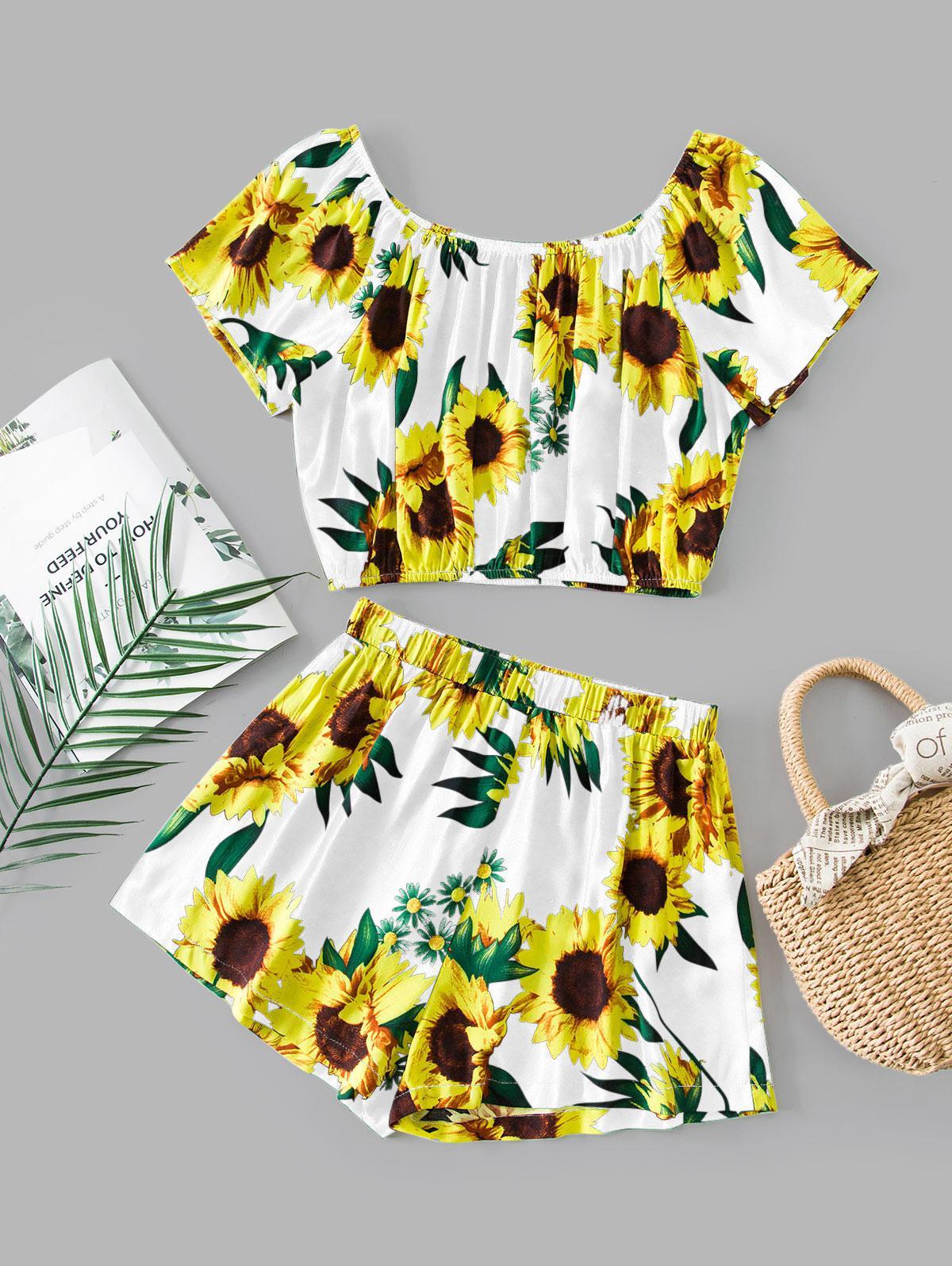 ZAFUL Sunflower Print Co Ord Set