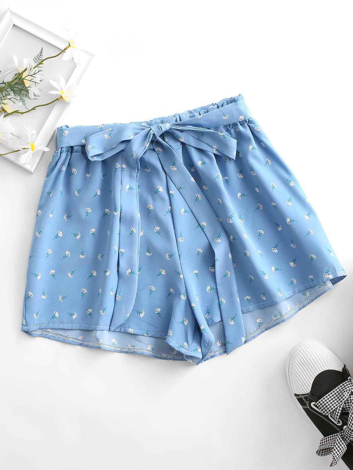Tie Ditsy Print Pull On Shorts