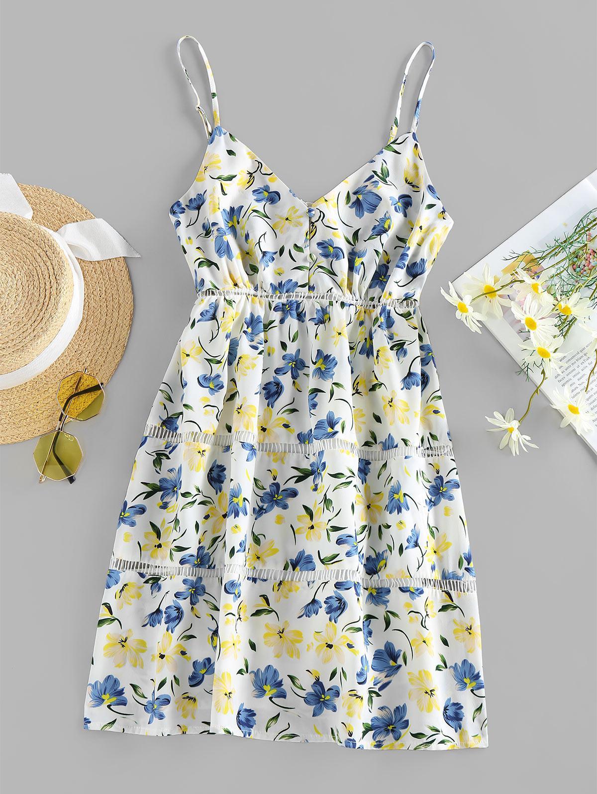 ZAFUL Floral Print Mini Cami Dress