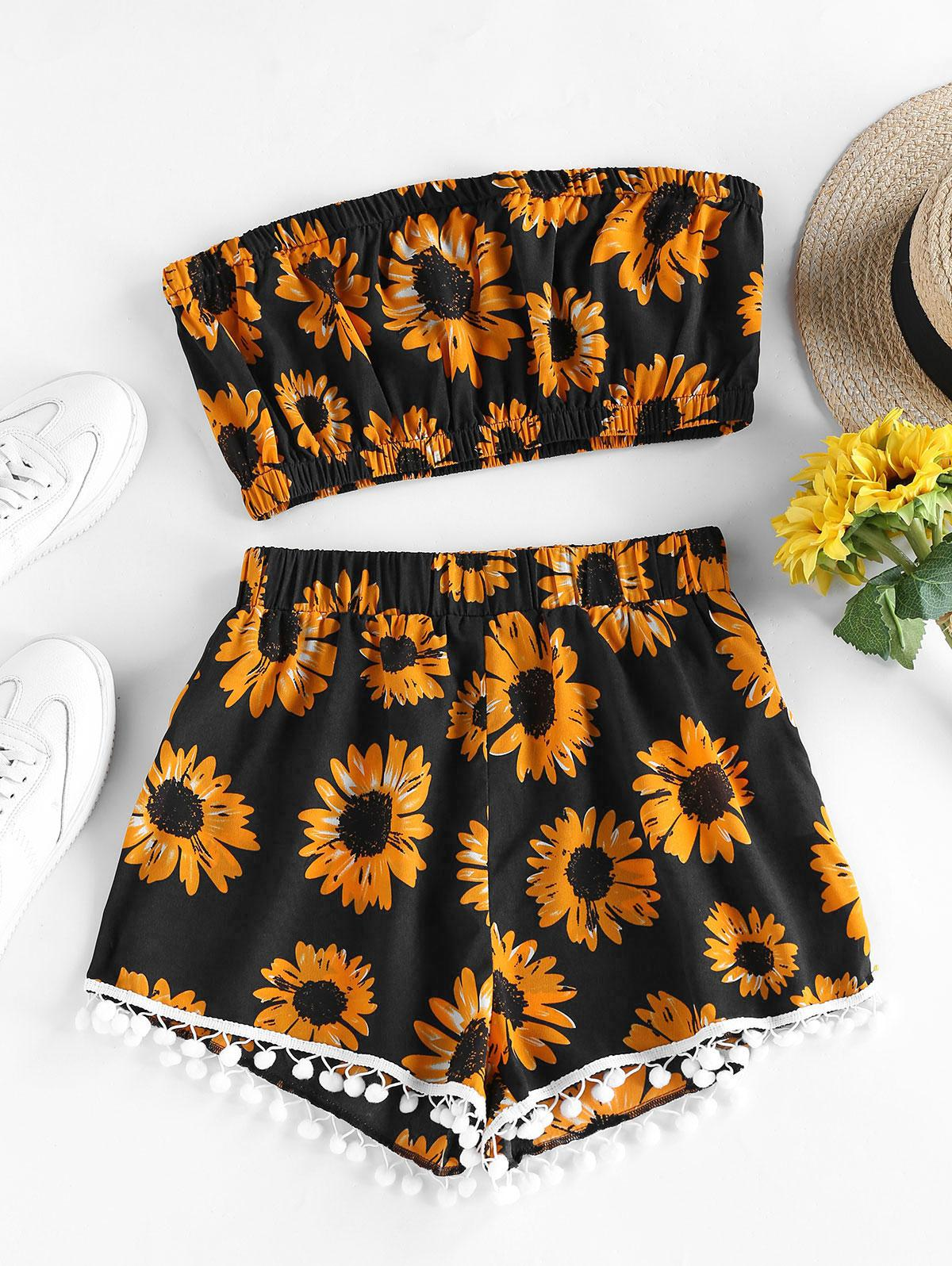 ZAFUL Sunflower Pompom Trim Bandeau Two Piece Set