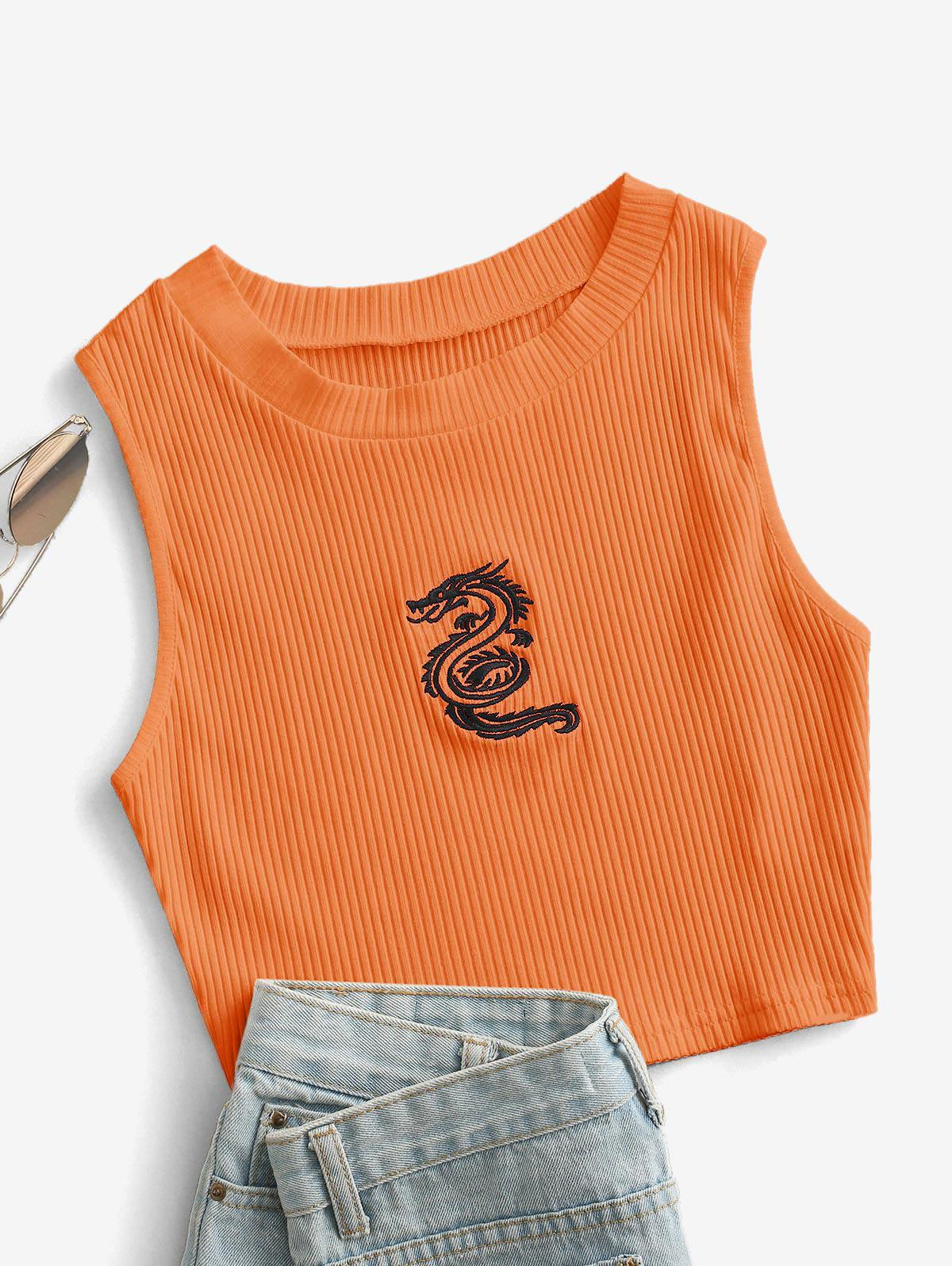 Oriental Dragon Embroidered Ribbed Crop Top