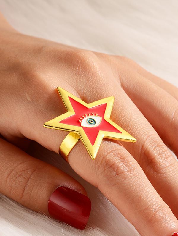 Star Eye Pattern Open Ring