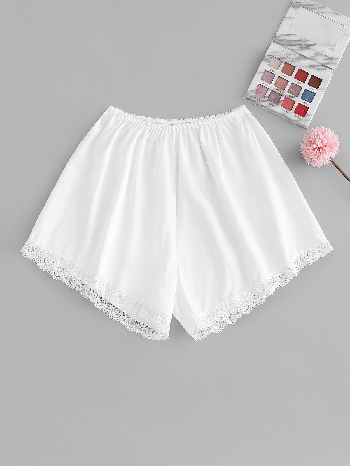 Picot Trim Lace Insert Silky Pajama Shorts