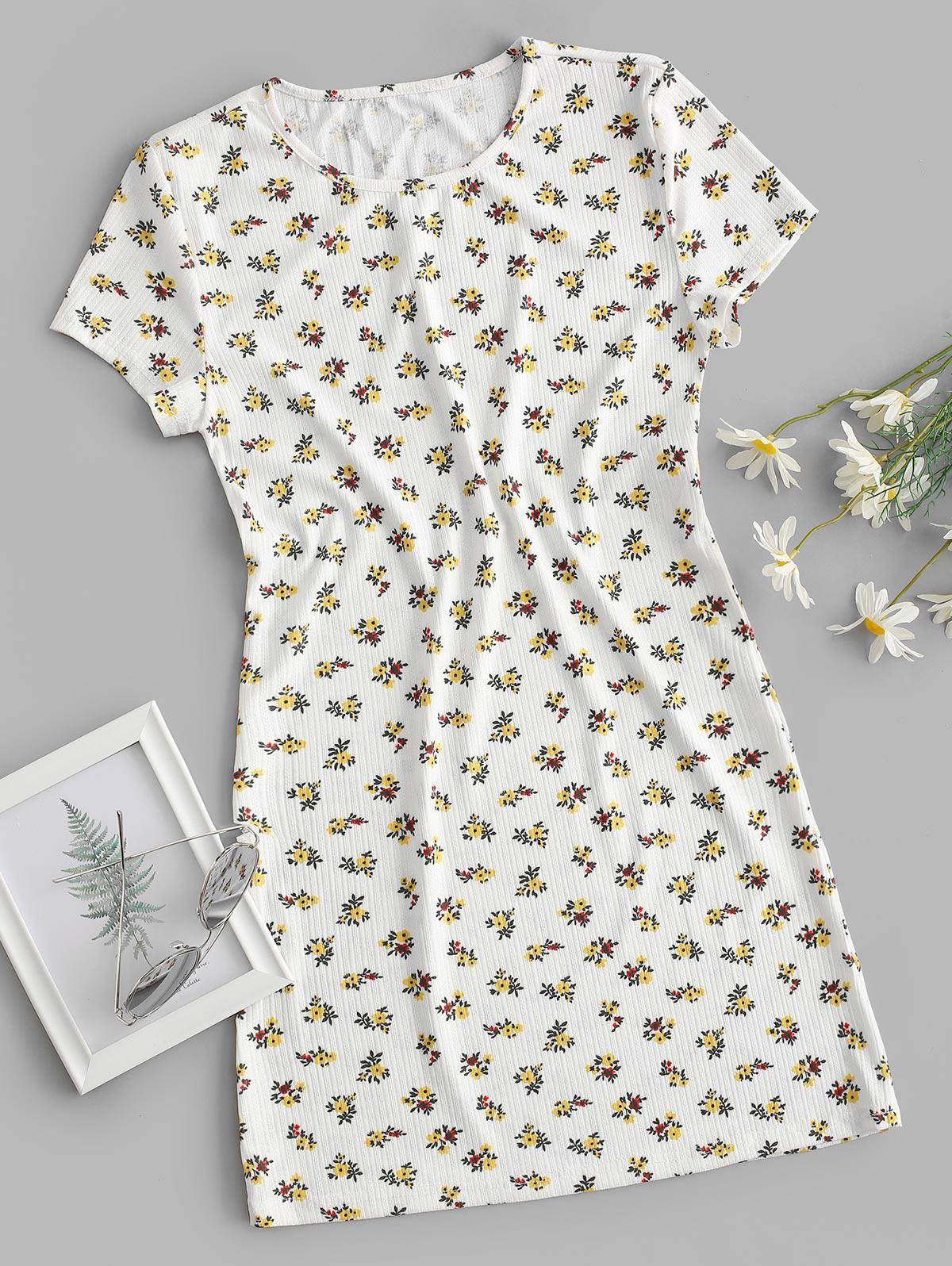 Ribbed Ditsy Floral T-shirt Dress