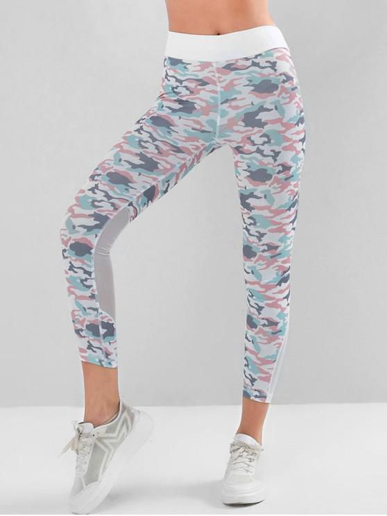 womens Mesh Panel High Waisted Camo Yoga Leggings - MULTI-A M
