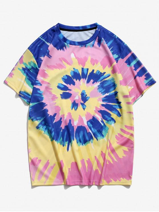 outfit Tie Dye Printed Round Neck T-shirt - PIG PINK 3XL