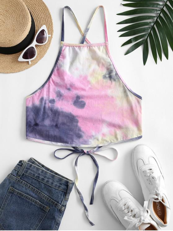 outfits Lace Up Criss Cross Heathered Tie Dye Crop Top - BLUE L
