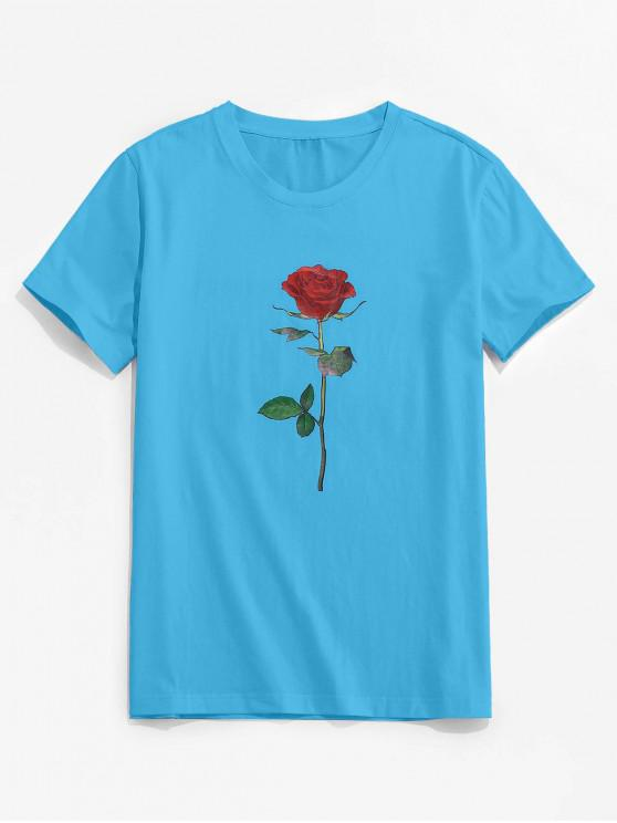 ZAFUL Rose Pattern Crew Neck Classic Tee - Deep Sky Blue 2XL
