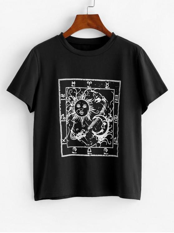 trendy Astrology Sun Moon Graphic Tee - BLACK XL