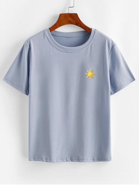 online Funny Lightning Sun Cloud Moon Embroidered Tee - BLUE XL