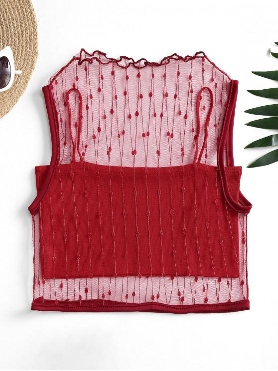 unique Mesh Metallic Thread Tank Top and Cami Knit Top Set - RED ONE SIZE