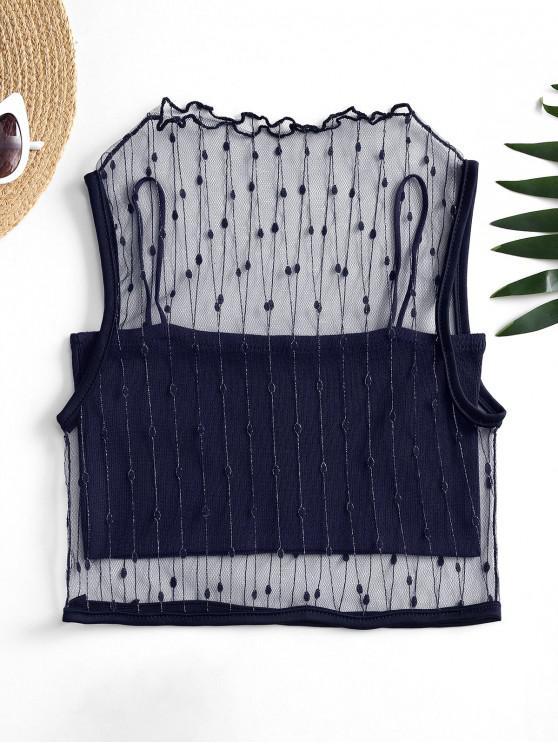 Plase metalice Subiect Rezervor de top și Cami Knit Top Set - Albastru inchis O marime