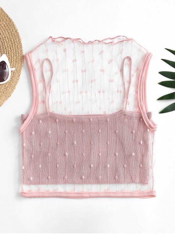 ladies Mesh Metallic Thread Tank Top and Cami Knit Top Set - LIGHT PINK ONE SIZE