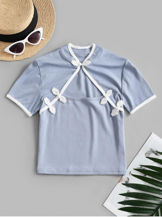latest Cropped Cut Out Oriental Top - LIGHT BLUE ONE SIZE