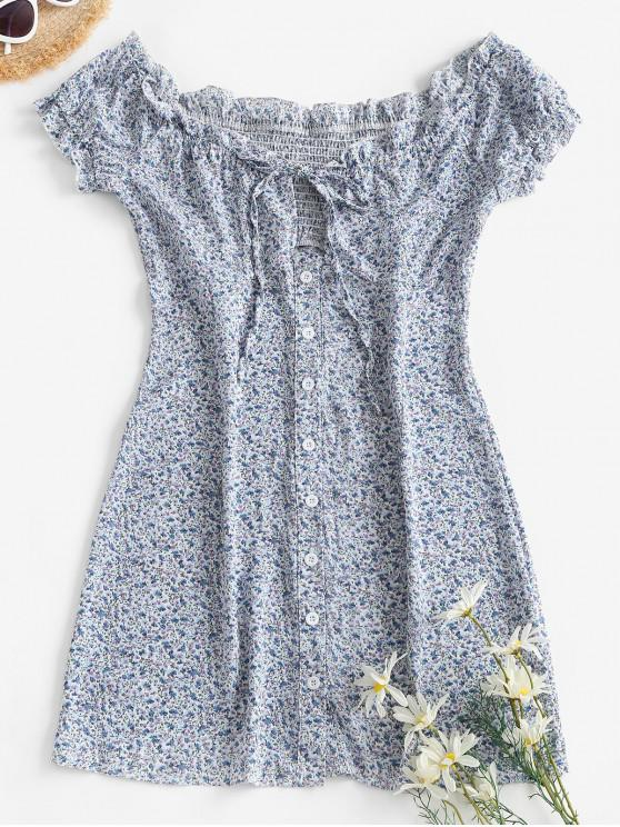 ladies Ditsy Floral Button Front Frilled Tie Dress - LIGHT BLUE M