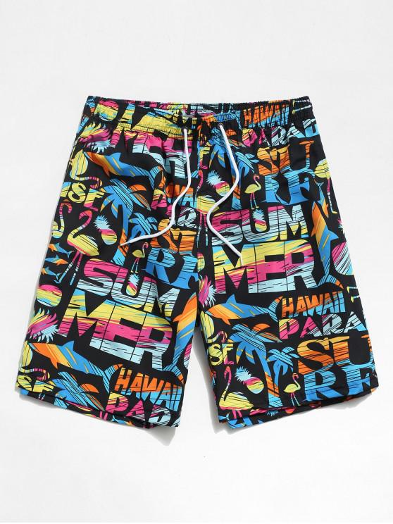 Beach Graphic Animal Pattern Hawaii Shorts - أسود M