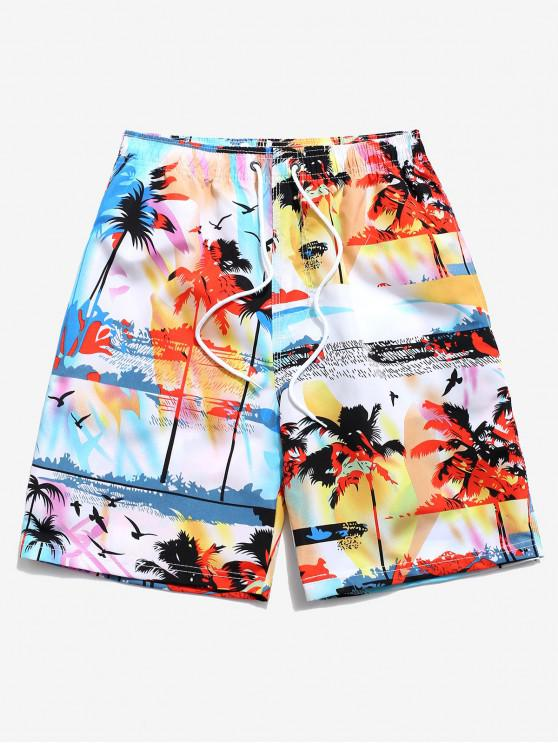 online Palm Tree Landscape Graphic Board Shorts - LIGHT BLUE XL