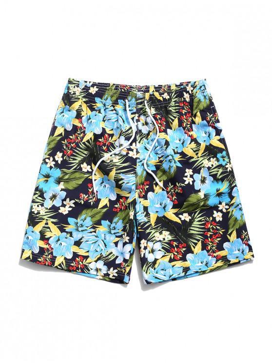 Tropical Flower Leaf Print Hawaii Vacation Shorts - أسود M