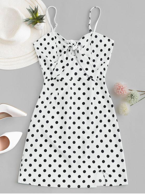 unique Polka Dot Knotted Slit Cami Summer Dress - WHITE XL