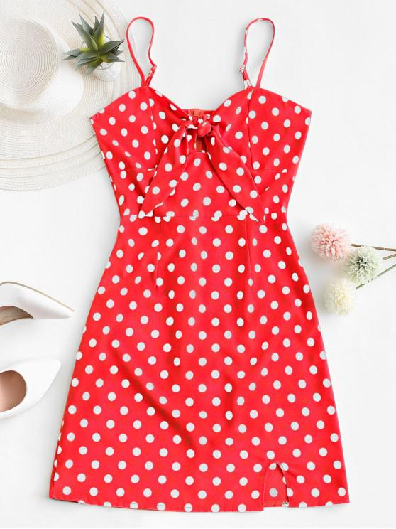 women Polka Dot Knotted Slit Cami Summer Dress - RED L
