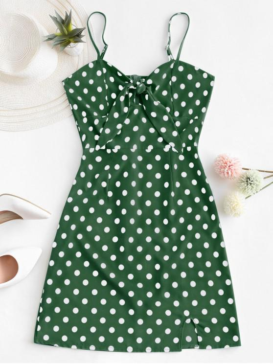 lady Polka Dot Knotted Slit Cami Summer Dress - LIGHT GREEN XL