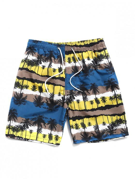 Palm Tree Print Vacation Beach Shorts - الأصفر M