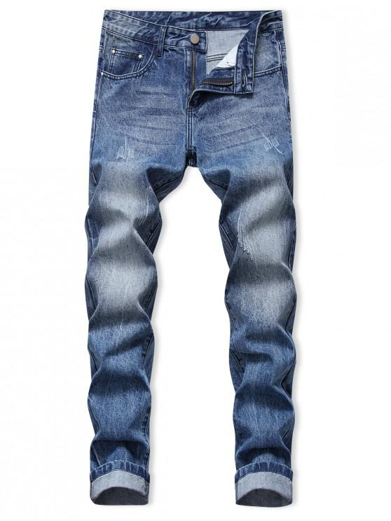 trendy Scratch Long Straight Jeans - BLUEBERRY BLUE 30