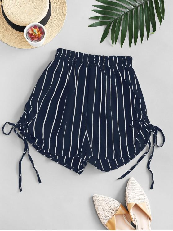 Striped Cinched Tie Casual Shorts - Albastru inchis L