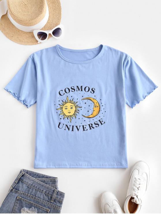 Sonnen Mond Stern Salat Manschetten T-Shirt - Blau Eine Größe