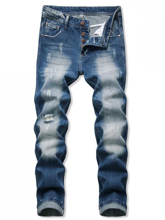 Pantalones de Denim Desgastados de Lavado - Azul de Arándanos 32