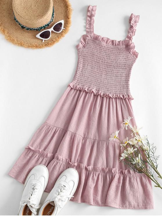 fashion Lettuce Trim Smocked Mini Dress - LIGHT PINK M