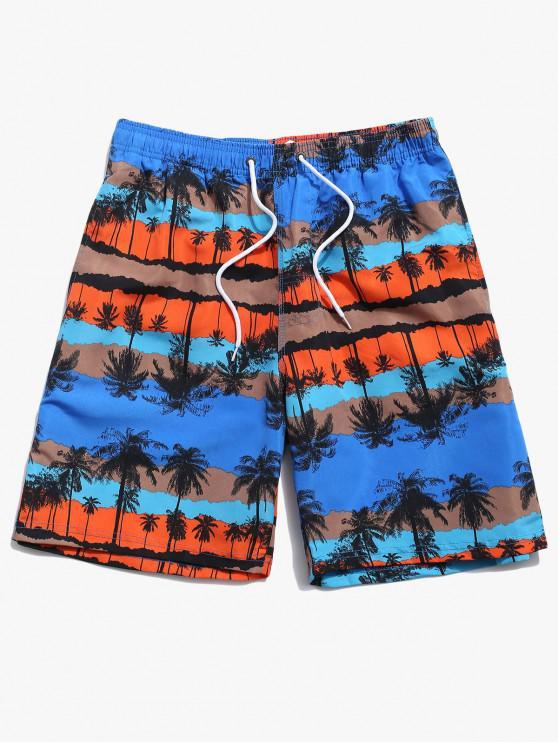 Palm Tree Graphic Print Board Shorts - أزرق M