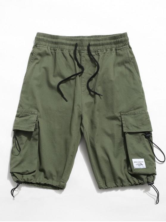 Letter Pattern Elastic Waist Cargo Shorts - اخضر فاتح M