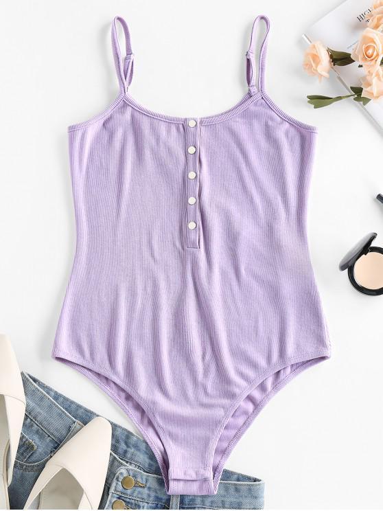 fashion ZAFUL Ribbed Half Button Bodysuit - MAUVE S