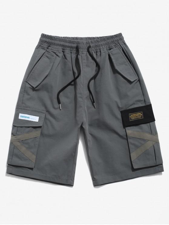 Letter Applique Multi-pocket Cargo Shorts - اللون الرمادي XS