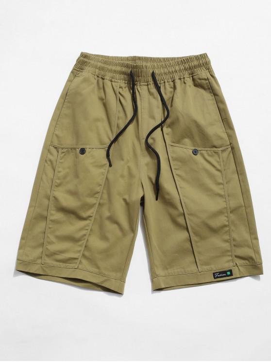 sale Letter Decoration Pocket Drawstring Shorts - KHAKI XL