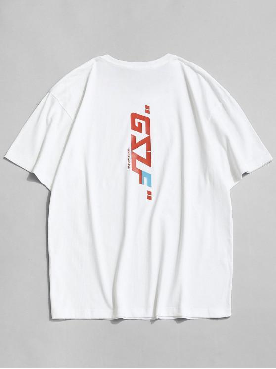 Camiseta Suelto Estampado Letras Cuello Redondo - Blanco L