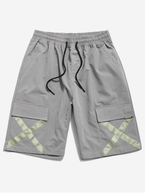 women's Cross Print Multi-pocket Casual Shorts - GRAY S