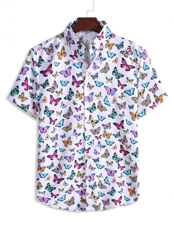 womens Butterfly Pattern Vacation Shirt - WHITE 3XL