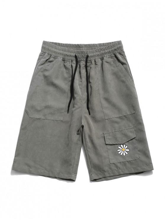 Flower Print Multi Pockets Casual Shorts - الجيش الأخضر XS