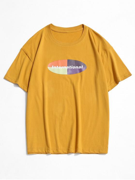 Graphic Print Short Sleeve Casual T-shirt - الأصفر L
