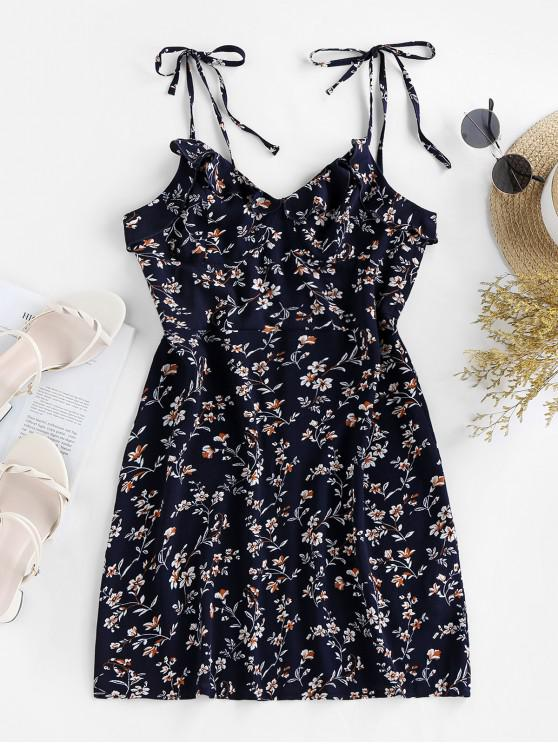 latest ZAFUL Tie Ruffles Ditsy Print Sundress - DEEP BLUE S