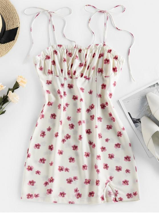 trendy ZAFUL Floral Print Tie Shoulder Bodycon Dress - WHITE S