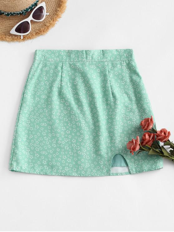 outfit Notched Hem Ditsy Floral Mini Skirt - LIGHT GREEN L